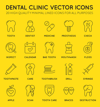 Set of Minimal Dentist Dental Clinic Vector Line Icons. Perfect Pixel. Thin Stroke. 48x48. Illustration