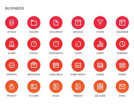 ビジネス ユーザー インターフェイス (UI) ベクトル アイコンを設定。高品質最低限すべての目的のアイコンが並ぶ。  イラスト・ベクター素材