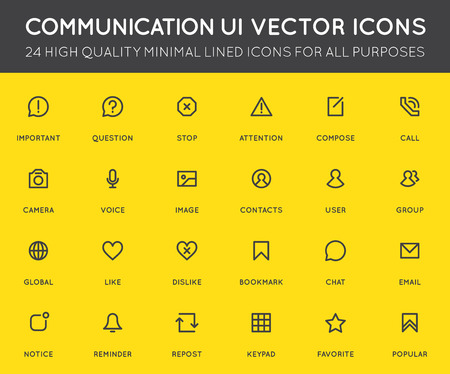Communication User Interface (UI) Vector Icon Set. High Quality Minimal Lined Icons for All Purposes.