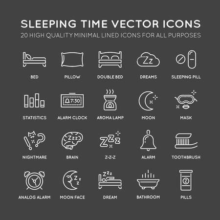 Set of Minimal Sleep Time Vector Line Icons. Perfect Pixel. Thin Stroke. Vektoros illusztráció