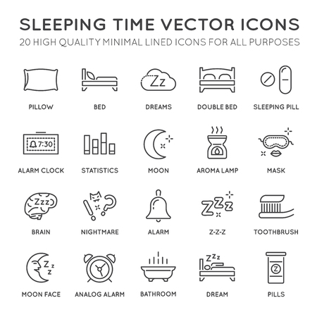 double bad: Set of Minimal Sleep Time Vector Line Icons. Perfect Pixel. Thin Stroke.