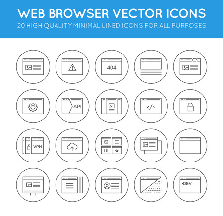48x48: Set of 48x48 Minimal Browser, Developing, App and Coding Vector Line Icons. Perfect Pixel. Thin Stroke.