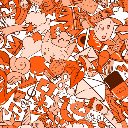 Graffiti pattern with urban lifestyle line icons. Crazy doodle abstract vector background. Trendy linear style collage with bizarre street art elements.
