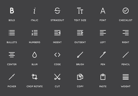 strikethrough: Text Editing User Interface (UI) Vector Icon Set. High Quality Minimal Lined Icons for All Purposes.