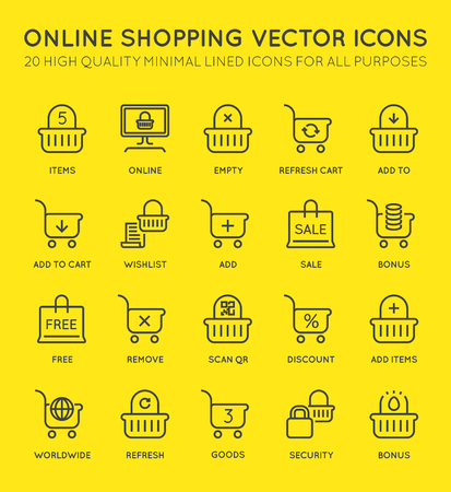Set of Minimal Shopping Cart Online Vector Line Icons. Perfect Pixel. Thin Stroke. 48x48 pixels. Illustration