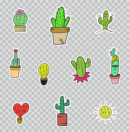 Patch Badges with Cactus. Vector illustration isolated on transparent background. Set Pack of stickers, pins, patches in cartoon 80s - 90s comic style.