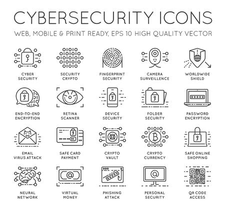 사이버 보안 씬 라인 아이콘이 설정됩니다. 컴퓨터 네트워크 보호. 고품질 프리미엄 개요 기호 컬렉션. 스트로크 벡터 로고 개념입니다 .Cybersecurity입니
