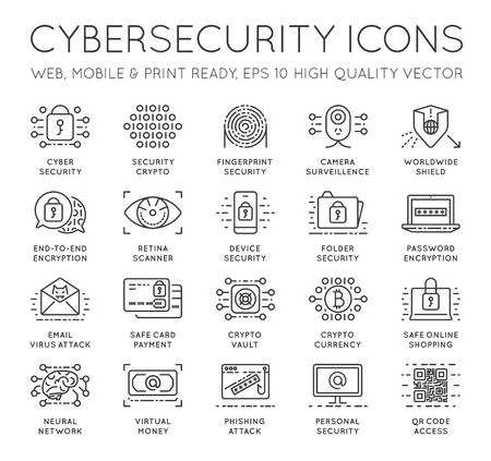 Cyber Security Thin Line icons set. Computer network protection. High Quality Premium outline symbol collection. Stroke vector logo concept.Cybersecurity. Stok Fotoğraf - 77835332