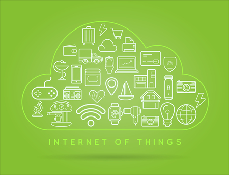 Cloud IOT Internet of Things Smart Home Vector Quality Design with Icons
