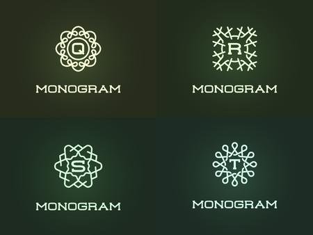 Set of Compact Monogram Design Template with Letter. Vector Illustration Premium Elegant Quality.
