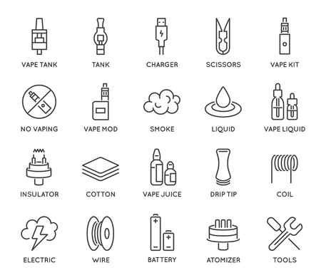 48x48: Set of Minimal Vape Vaping Culture Vector Line Icons. Perfect Pixel. Thin Stroke. 48x48.