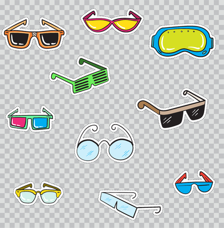 Patch Badges with Glasses. Vector illustration isolated on transparent background. Set Pack of stickers, pins, patches in cartoon 80s - 90s comic style. Illustration