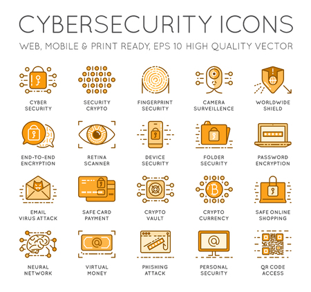 Cyber Security Thin Line icons set. Computer network protection. High Quality Premium outline symbol collection. Stroke vector logo concept.Cybersecurity. Illustration