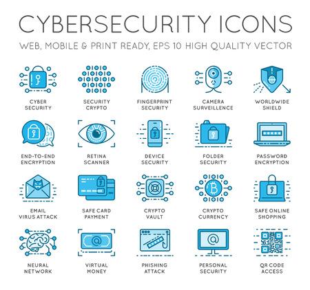 サイバー セキュリティの細い線のアイコンを設定します。コンピューター ネットワークの保護。高品質のプレミアム アウトライン シンボルのコレ