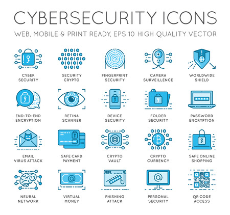 Cyber Security Thin Line icons set. Computer network protection. High Quality Premium outline symbol collection. Stroke vector logo concept.Cybersecurity. Vettoriali