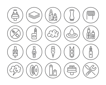 Set of Minimal Vape Vaping Culture Vector Line Icons. Perfect Pixel. Thin Stroke. 48x48.