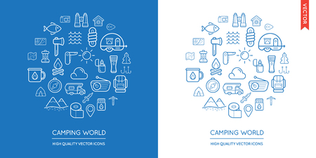 famous industries: Vector Set of Camping Modern Flat Thin Icons Inscribed in Round Shape