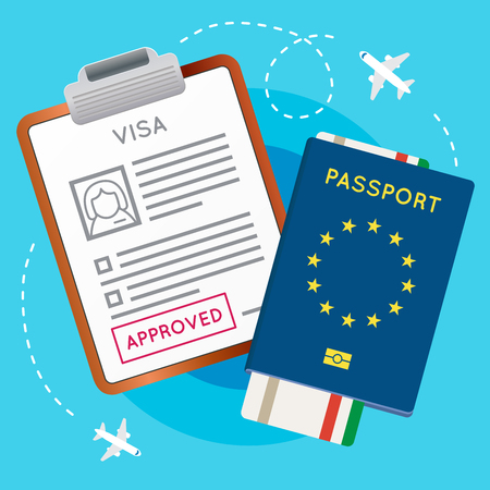 documentation: Eurozone Europe Visa Approved Stamp on Document. Passport with Flight Aircraft Ticket. Travel Immigration Stamp. Vector Illustration.