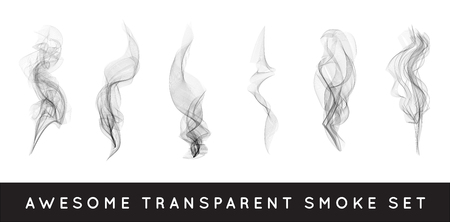 Set of digital realistic smoke vector illustration, curly smoke flow collection, curved transparent smoke flow image, grey smoke flow, vertical smoke flow, 3D smoke flow picture. Stock Illustratie