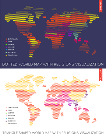 Set of Vector Flat Maps of the World. Infographic. Map Data. Illustration