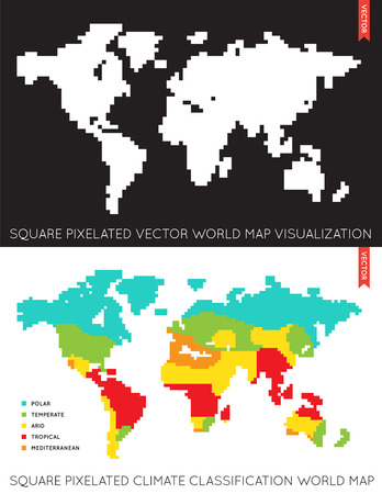 temperate: Set of Vector Flat Maps of the World. Infographic. Map Data. Illustration