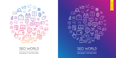 famous industries: Vector Set of SEO Modern Flat Thin Icons Inscribed in Round Shape