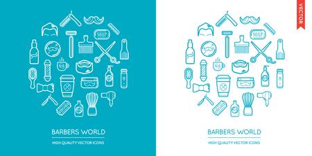 Vector Set of Barber Shop Modern Flat Thin Icons Inscribed in Round Shape Ilustração