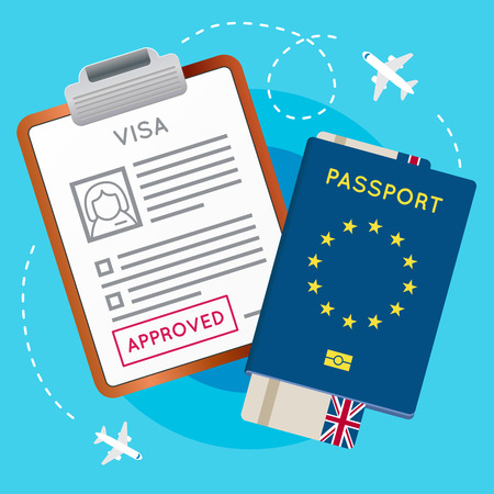 immigrant: Eurozone Europe Visa Approved Stamp on Document. Passport with Flight Aircraft Ticket. Travel Immigration Stamp. Vector Illustration.