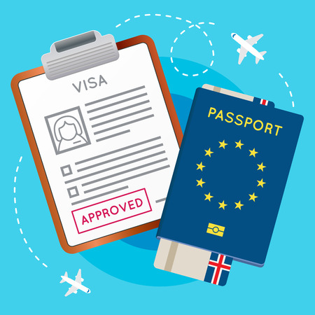 visa approved: Eurozone Europe Visa Approved Stamp on Document. Passport with Flight Aircraft Ticket. Travel Immigration Stamp. Vector Illustration.