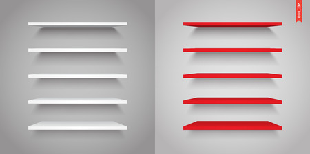 market place: Set of Plastic Shelves Vector Isolated on the Wall Background