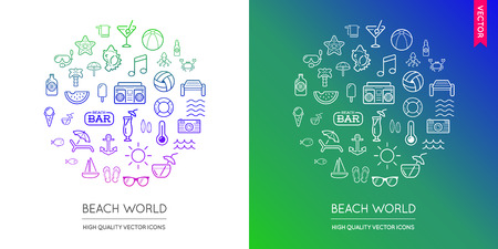 watermelon boat: Vector Set of Beach Modern Flat Thin Icons Inscribed in Round Shape
