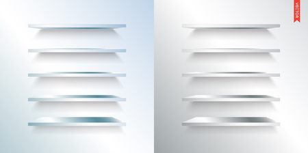 market place: Set of Metal or Steel Shelves Vector Isolated on the Wall Background