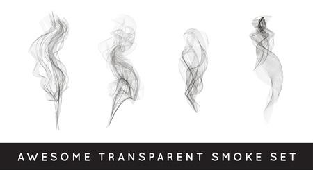 デジタルの現実的な煙のベクトル図の設定、カーリーの煙流動コレクション曲線透明な煙流動イメージ、灰色の煙流動、垂直の煙流、煙の流れの三