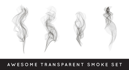 Set of digital realistic smoke vector illustration, curly smoke flow collection, curved transparent smoke flow image, grey smoke flow, vertical smoke flow, 3D smoke flow picture. Ilustrace