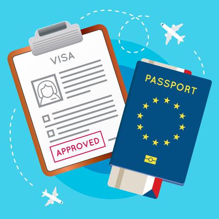 Eurozone Europe Visa Genehmigt Stempel auf Dokument. Pass mit Flugflugticket. Reise Immigration Briefmarke. Vektor-Illustration. Standard-Bild - 77919759