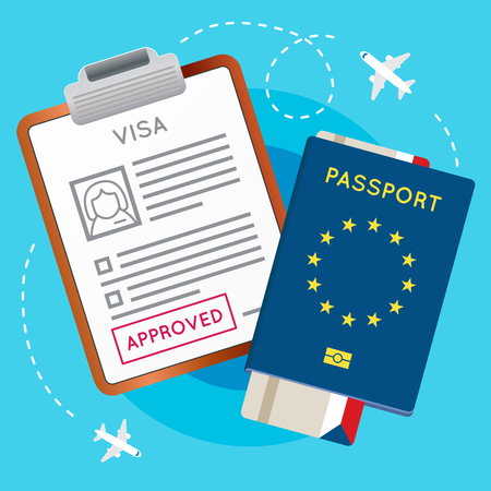 Eurozone Europe Visa Approved Stamp on Document. Passport with Flight Aircraft Ticket. Travel Immigration Stamp. Vector Illustration.