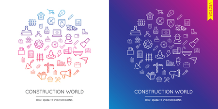 famous industries: Vector Set of Construction Modern Flat Thin Icons Inscribed in Round Shape
