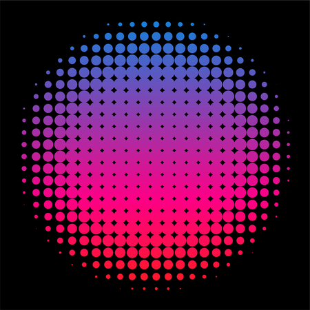 Colorful Rainbow Circle in Halftone, Halftone Dot Pattern Vetores