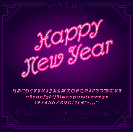 Happy New Year Holiday. Bright Neon Alphabet Letters, Numbers and Symbols Sign in Vector. Night Show. Night Club. Illustration