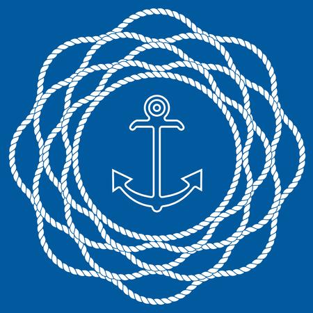 Nautical Anchor with Rope Mandala Flower. Stock Illustratie