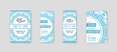 Set of Design Awesome Wedding Invitation Template with Mandala or Doodles Theme.