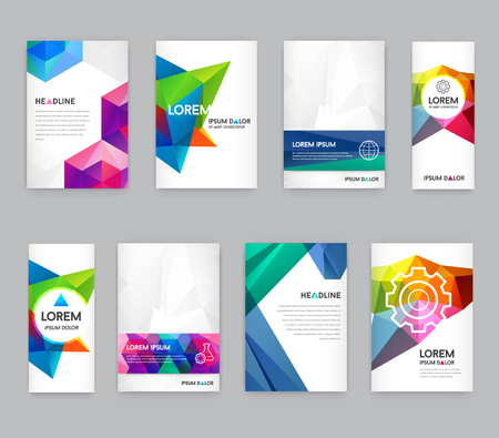 Big Set of Visual identity with letter elements polygonal style