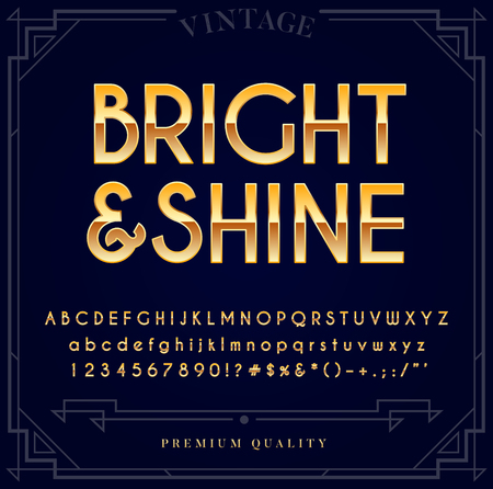 Gold Metallic Font Set. Letters, Numbers and Special Characters