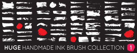 Dirty DIY Handmade artistic design elements, boxes, frames. Huge collection of black paint, ink brush strokes, brushes, lines, grungy. Vector illustration. Freehand drawing.