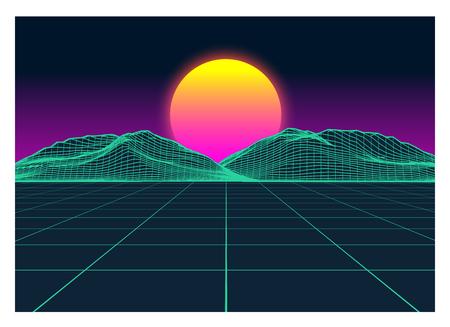 Vector Retro Futurism Old VHS Style Landscape 1980s Style. Digital retro Landscape Planet Cyber surface. Retro Futuristic Gaming or Music Album Cover. 80s Retro Sci-Fi Background Summer or Spring Landscape.