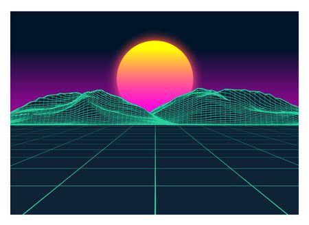 Vector Retro Futurism Old VHS Style Landscape 1980s Style. Digital retro Landscape Planet Cyber surface. Retro Futuristic Gaming or Music Album Cover. 80s Retro Sci-Fi Background Summer or Spring Landscape.