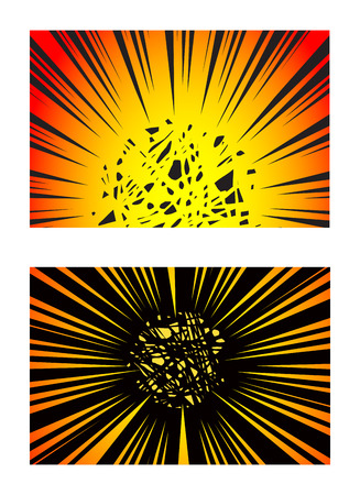 Set of Sun Rays or Explosion Boom for Comic Books Radial Background Vector Ilustração