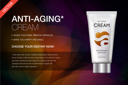 Anti-aging Hand Cream Contained in Cosmetic tube, 3d illustration for Advertising in Vector. Banque d'images - 114736275