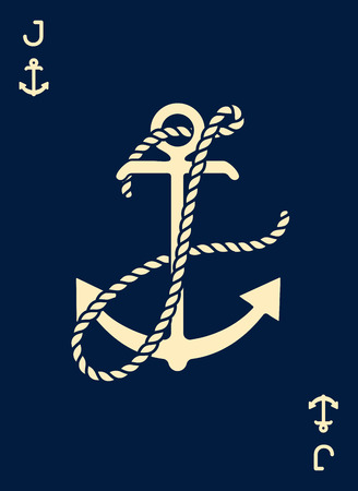 Vintage Label with an Anchor and Letter made of Ship Rope. Apparel t-shirt or Poster Design. Logotype Monogram with Playing Cards Style. Vector illustration.