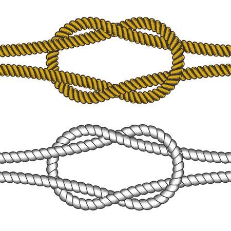 Set of vector elements. Colorful and Grayscale ropes with knot Çizim